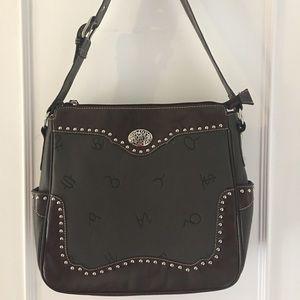 Western Leather Studded Purse Adjustable Strap